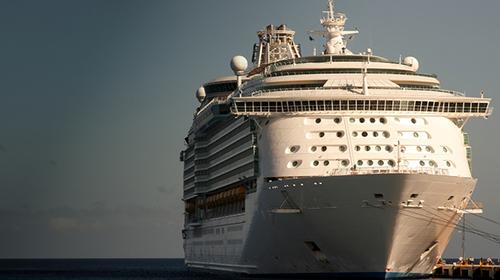 A cruise ship docked