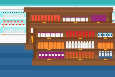 Background of supermarket shelves with products vector flat design illustration. Horizontal layout.
